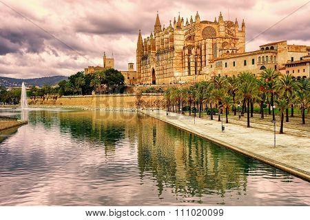 La Seu, The Cathedral Of Palma De Mallorca, Spain, In Sunset Light