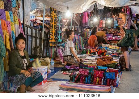 Luang Prabang, Laos - Circa August 2015: Traditional Night Market With Crafts And Souvenirs On The S