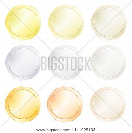Vector Round Icons With Different Types Of Polished Metal, Gold, Red Gold, Platinum, Silver, Bronze,