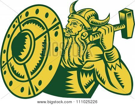 Viking Warrior Hammer Shield Woodcut
