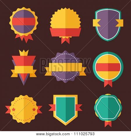 Modern flat design badges collection. Vector badges flat modern style. Vintage, retro flat badges, labels and ribbons. Badges isolated, modern flat solid style. Badges icons, badges logo. Badges icons