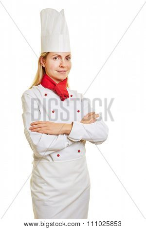 Woman as chef cook in apprenticeship with chef's head and workwear