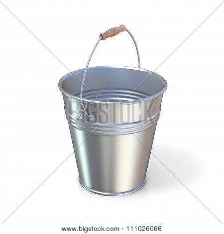 Metal bucket. Raised handle