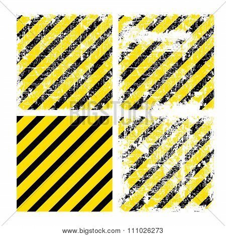 Four Square Yellow Vector Backgrounds With Black Stripes With Va