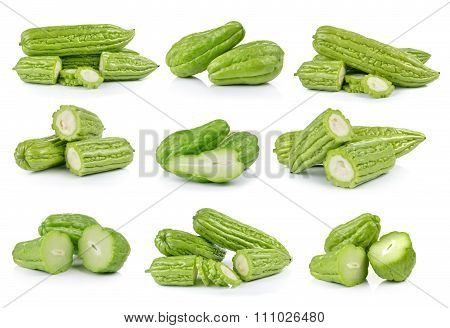 Chayote And Momordica Charantia On White Background