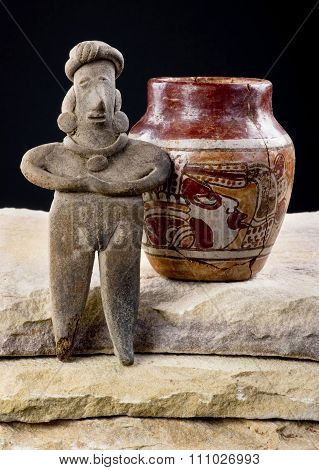 Pre Columbian Woman And Pottery.