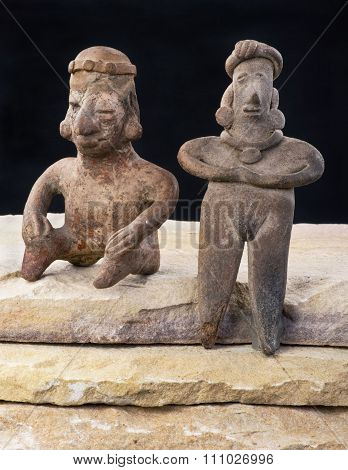 Pre Columbian Woman And Warrior.