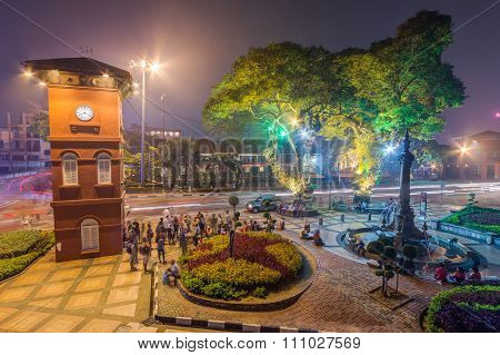 Malacca, Malaysia - Circa September 2015: Melaka Clock Tower At Dutch Square In Malacca,  Malaysia
