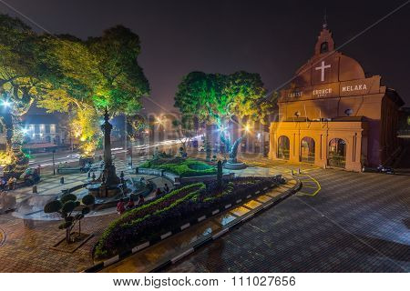 Malacca, Malaysia - Circa September 2015: Queen Victoria's Fountain And Christ Church At Dutch Squar