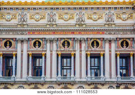 Close up shot, architecture detail, National Academy of Music, Paris, France