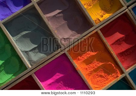 india nepal tika color. powder for blessing poster