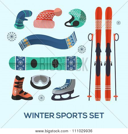 Winter sports design elements set. Winter sports icon in flat style.