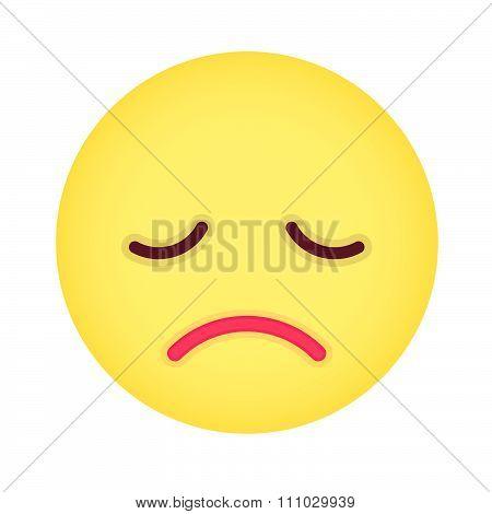Flat Grumpy Emoticon. Isolated Vector Illustration On White Background