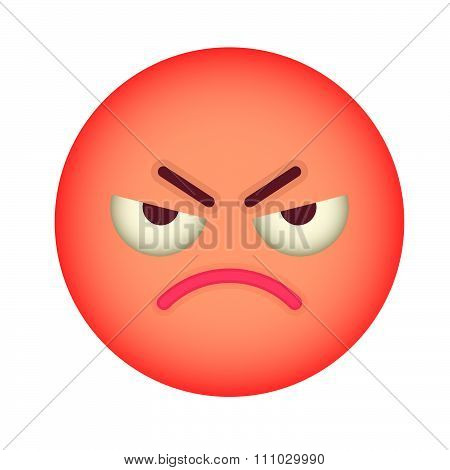 Flat Angry Emoticon. Isolated Vector Illustration On White Background