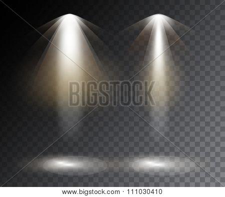 Vector Spotlights. Scene. Light Effects. Vector Stock.