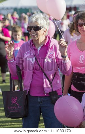 Mature Woman At Breast Cancer Awareness Event