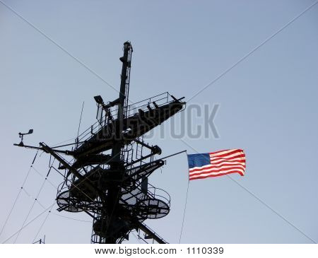 American Flag On A Ship