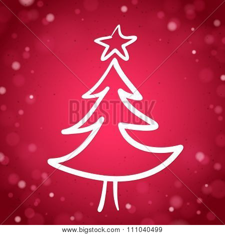 The Sketch of the Christmas Tree on the Red Sparkling Background with Lights