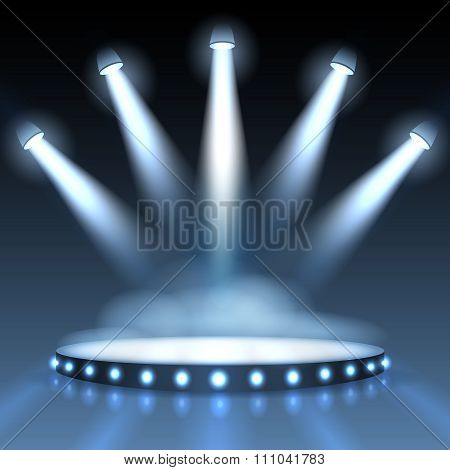 Vector illuminated podium with spotlights. Abstract background for presentation