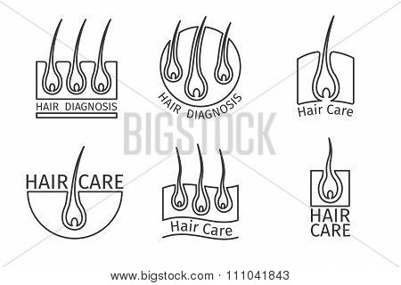 Healthy hair logos. Epilation and extensions
