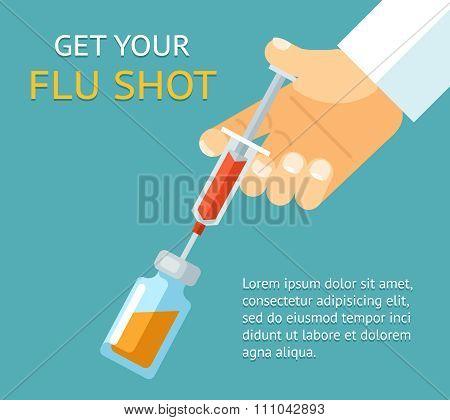 Get your flu shot. Doctor hand with syringe
