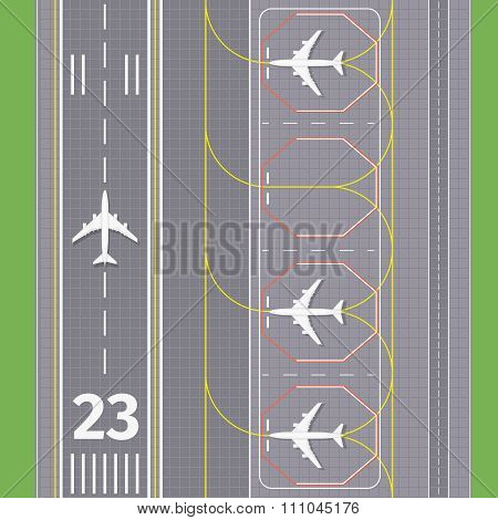 Airport landing airstrips vector