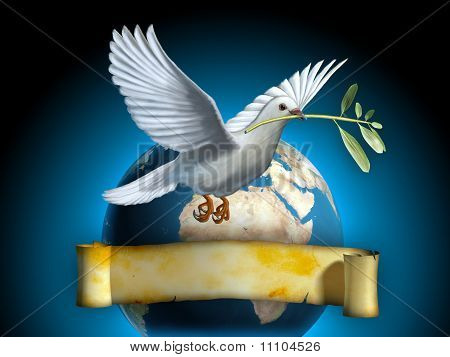 White dove carrying an olive branch as a peace symbol. The Earth and an old banner on background. Copyspace on banner to insert your own text. Digital illustration. poster