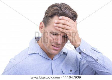 Frustrated Man Or Headache