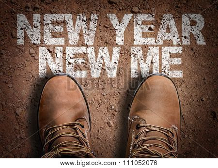 Top View of Boot on the trail with the text: New Year New Me