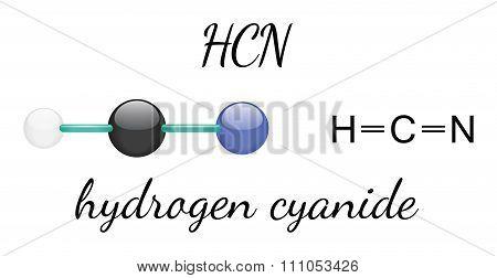 HCN hydrogen cyanide molecule
