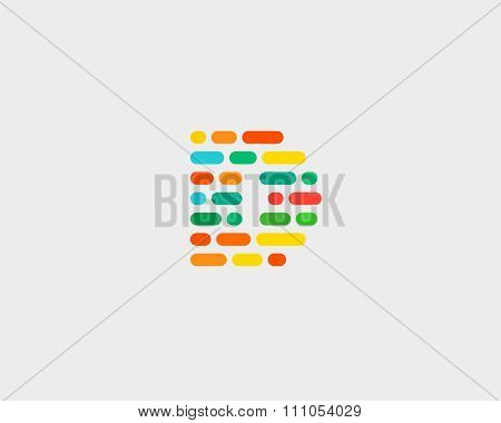 Abstract letter D logo.  Dynamic code vector unusual font.