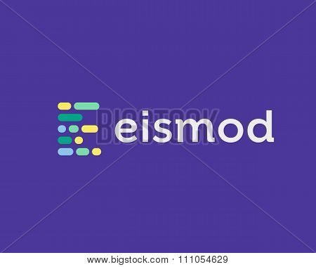 Abstract letter E logo. Dynamic code vector unusual font.