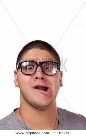Man Wearing Nerd Glasses