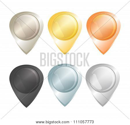 Set Of Vector Tags On The Map Of Gold, Platinum, Silver, Copper, Aluminum And Black Diamond