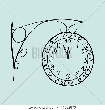 Street clock with a dial of midnight New year
