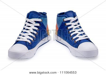 Pair Of High Top Color Denim Gymshoes