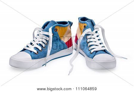A Pair Of High Top Color Denim Gymshoes