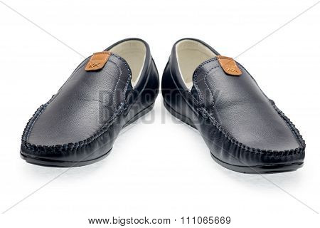 Pair Leather Dark Blue Color Male Moccasins