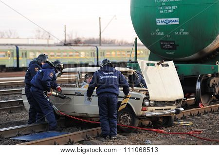 Orel, Russia - December 09, 2015: Emergency Control Ministry (mchs) Tactical Exercise. Rescue Team S