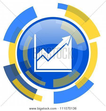 histogram blue yellow glossy web icon