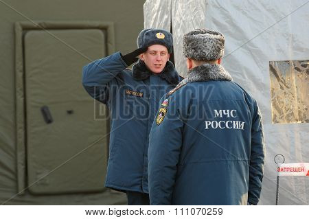 Orel, Russia - December 09, 2015: Emergency Control Ministry (mchs) Tactical Exercise. Guard Salutes
