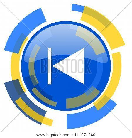 prev blue yellow glossy web icon