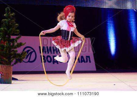 Minsk, Belarus December 05: Unidentified Gymnast From ' Slonim' Participate With 'little