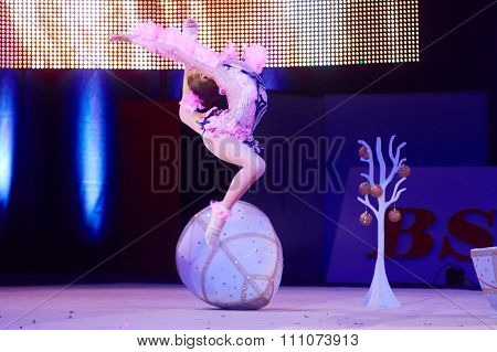 Minsk, Belarus December 05: Unidentified Gymnast From ' Grodno' Participate With 'bird O