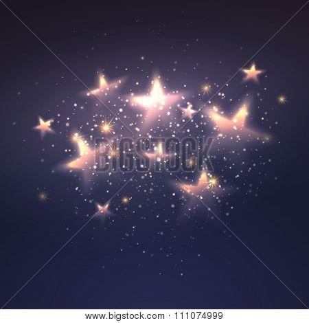 Defocused magic star background. Vector illustration