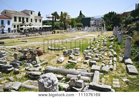 ancient roman market in Athens Greece