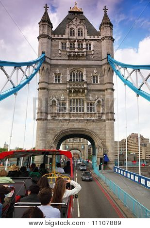 In Bus On Tower Bridge In London. Tower Bridge Is One Of Most Recognizable Bridges In World.