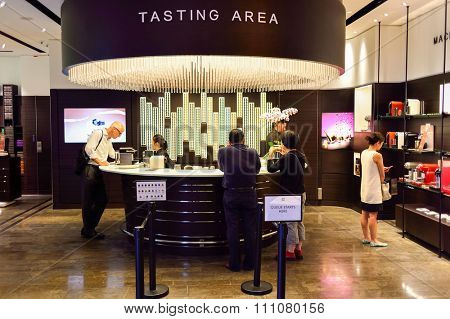 HONG KONG - MAY 5, 2015: interior of Nespresso store. Nespresso is the brand name of Nestle Nespresso S.A., an operating unit of the Nestle Group.