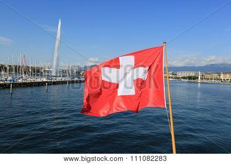 Swiss Flag Over Lake Geneva