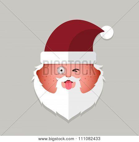 Flat Santa Claus Eyewink Emoticon. Vector Illustration.